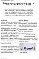 Force & pressure measurement during vacuum extractions in obstetrics