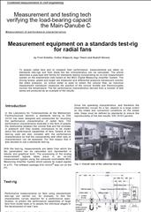 Measurement equipment on a standards test-rig for radial fans