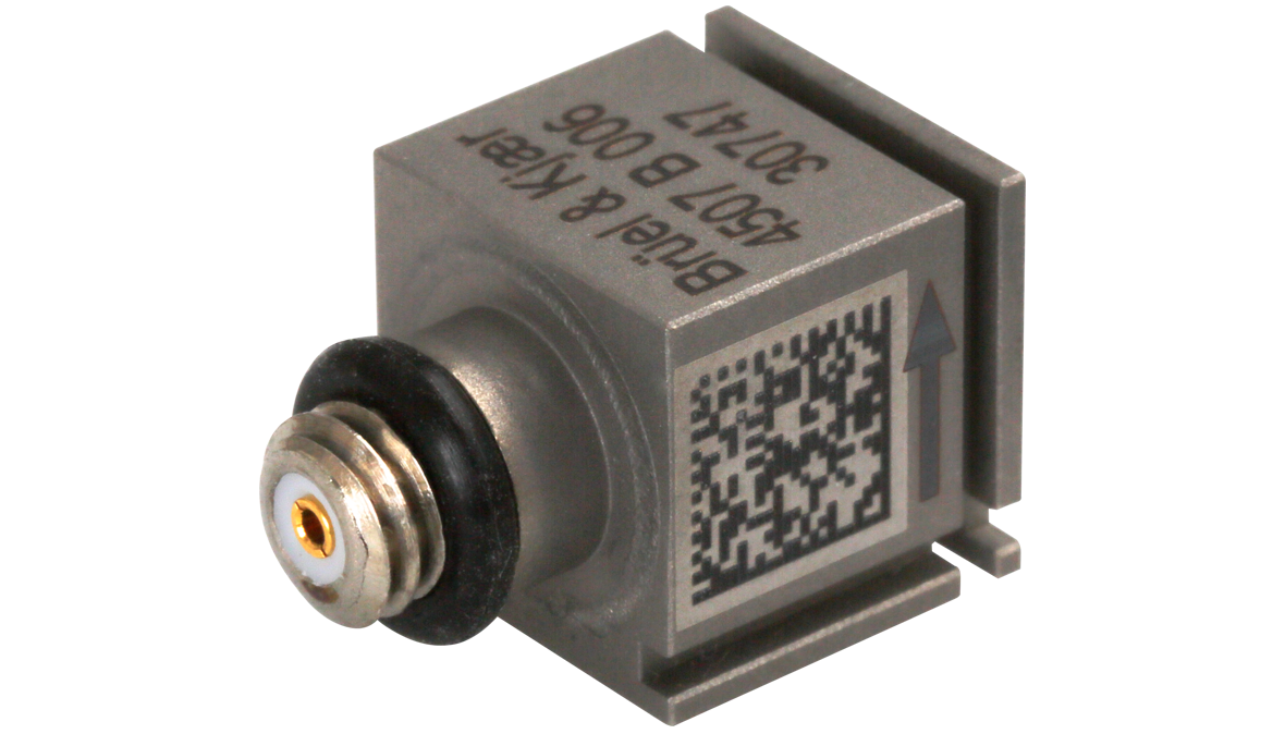 B&K Type 4507-B-006 Piezoelectric CCLD Accelerometer, TEDS, 5MV/G, Side Connector, Excl. Cable