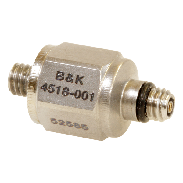 B&K Type 4518-001  Miniature Hex CCLD Accelerometer, 100 MV/G, Integral M3 Stud, Top Connector, Hermetic, Excl. Cable