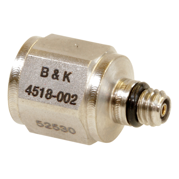 B&K Type 4518-002 Miniature Hex CCLD Accelerometer, 10 MV/G, Adhesive Mount, Top Connector, Hermetic, Excl. Cable