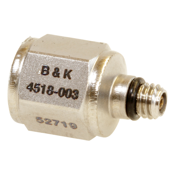 B&K Type 4518-003 Miniature Hex CCLD Accelerometer, 100 MV/G, Adhesive Mount, Top Connector, Hermetic, Excl. Cable