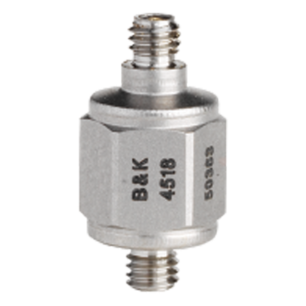 B&K Type 4518  Miniature Hex CCLD Accelerometer, 10 MV/G, Integral M3 Stud, Hermetic, Top Connector, Excl. Cable