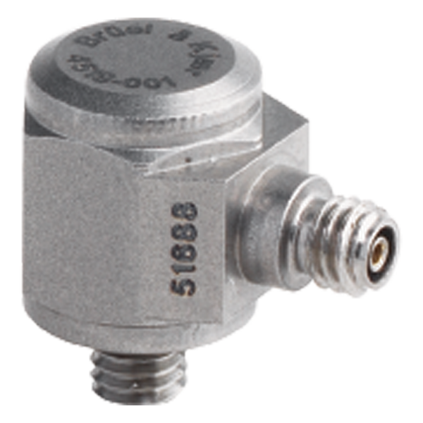 B&K Type 4519-001 Miniature Hex CCLD Accelerometer, 100 MV/G, Integral M3 Stud, Side Connector, Hermetic, Excl. Cable