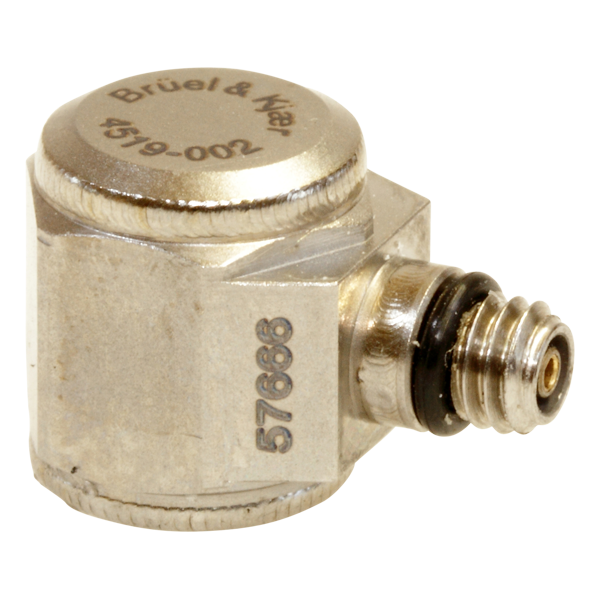 B&K Type 4519-002  Miniature Hex CCLD Accelerometer, 10 MV/G, Adhesive Mount, Side Connector, Hermetic, Excl. Cable
