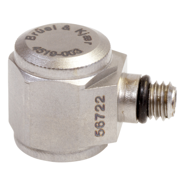 B&K Type 4519-003 Miniature Hex CCLD Accelerometer, 100 MV/G, Adhesive Mount, Side Connector, Hermetic, Excl. Cable