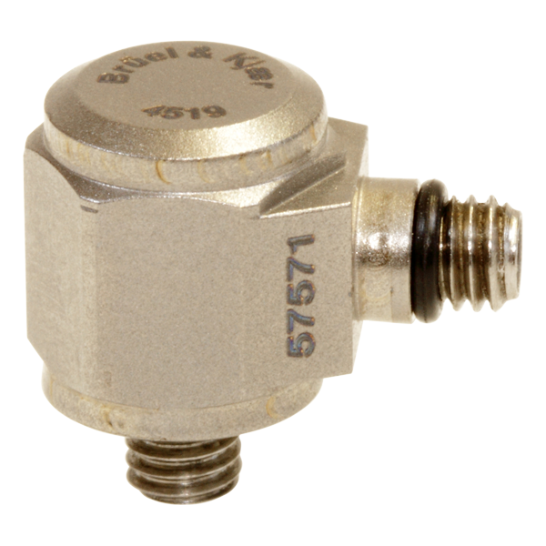B&K Type 4519 Miniature Hex CCLD Accelerometer, 10 MV/G, Integral M3 Stud, Side Connector, Hermetic, Excl. Cable
