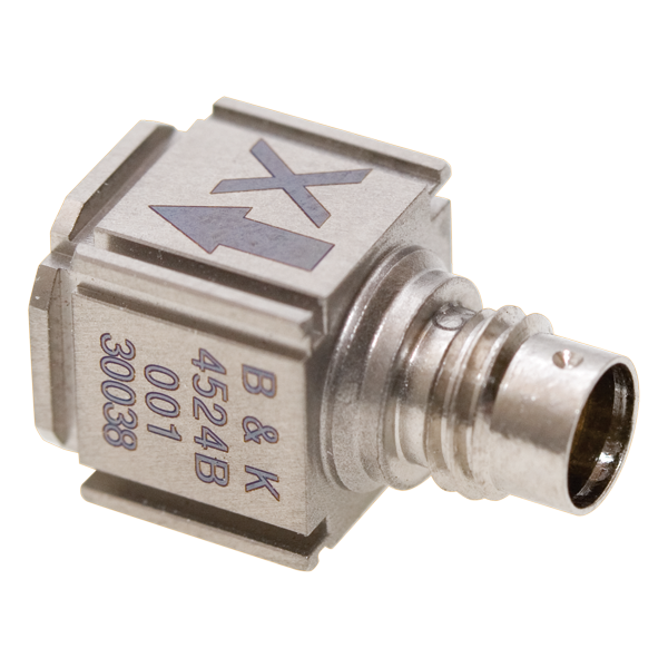 B&K Type 4524-B-001 Cubic Triaxial CCLD Accelerometer, TEDS, 1 MV/MS-2, Excl. Cable