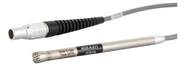 Type 4938-A-011  ¼-Inch Pressure-Field Microphone With Type 2670 Preamplifier, 4 HZ TO 70 KHZ, 200 V Polarization