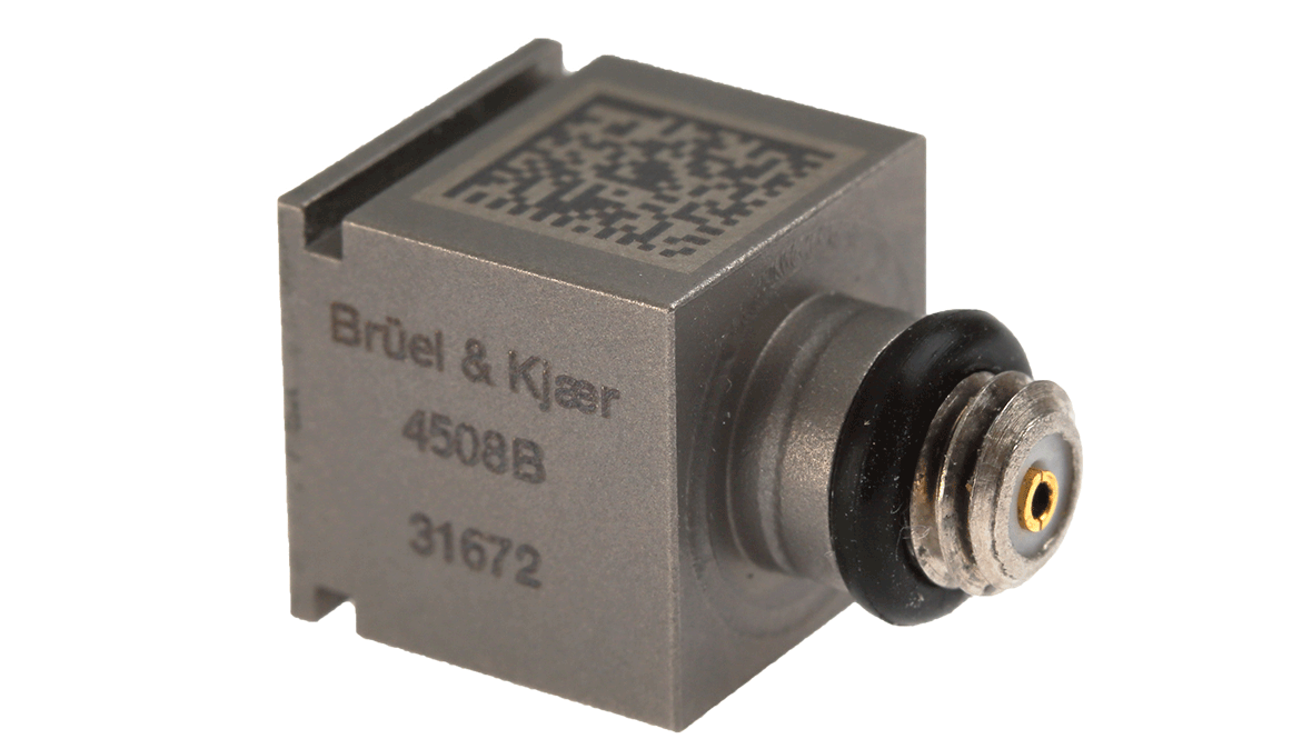 B&K Type 4508-B Piezoelectric CCLD Accelerometer, TEDS, 100 MV/G, 1 Slot, Top Connector, Excl. Cable