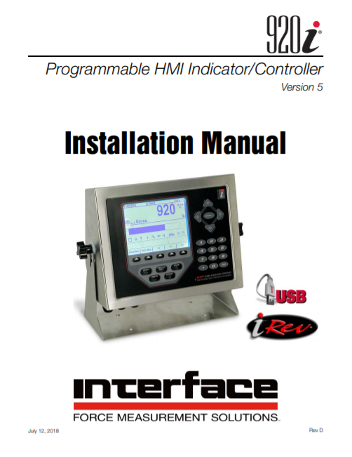 920i Programmable Weight Indicator Controller-Installation Manual