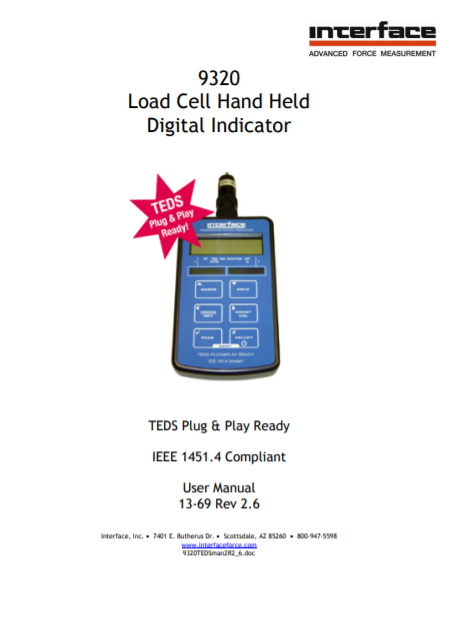 9320 Hand Held Battery Powered Indicator-User Manual