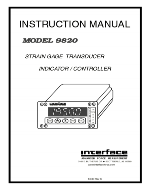 9820 General Purpose Load Cell Indicator-Instruction Manual
