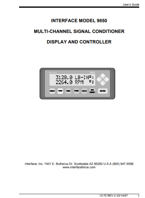 9850 Multi-Channel Torque Load Cell Indicator-User Manual