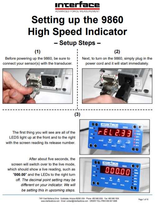 9860 TEDS High Speed Digital Indicator-Setup Guide