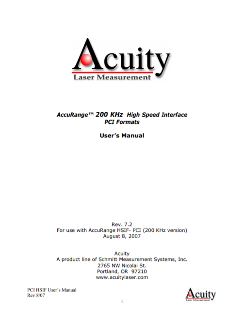 AccuRange 200 KHz High Speed Interface PCI Formats user manual