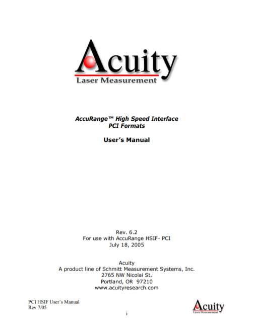 AccuRange High Speed Interface PCI Formats user manual