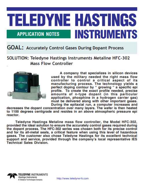 Accurately Control Gases During Dopant Process