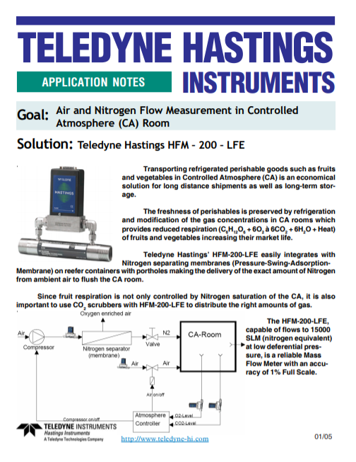 Air and Nitrogen Flow Measurement in Controlled Atmosphere (CA) Room
