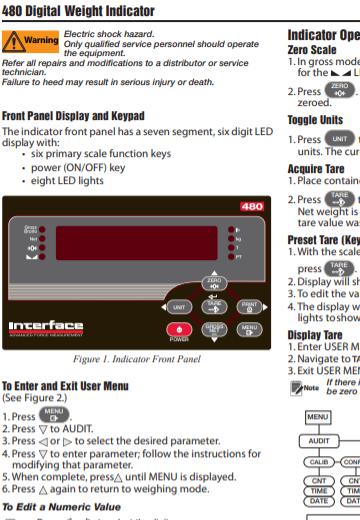480 Bidirectional Weight Indicator-Operator Instruction Card