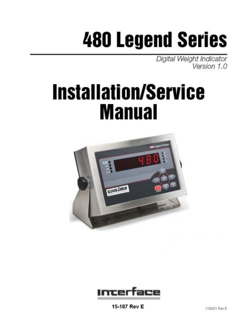 480 Bidirectional Weight Indicator-installation Manual