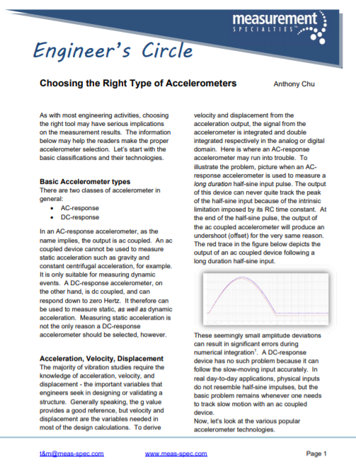 Choosing the Right Type of Accelerometers