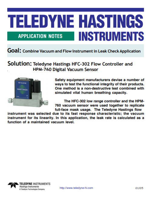 Combine Vacuum and Flow Instrument in Leak Check Application