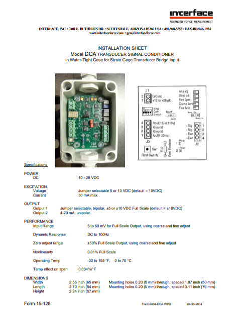 DCA Vehicle Compatible Signal Conditioner- Installation Sheet