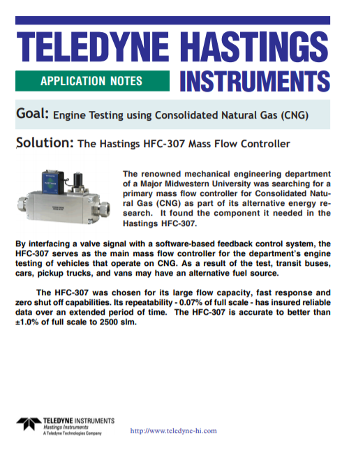 Engine Testing using Consolidated Natural Gas