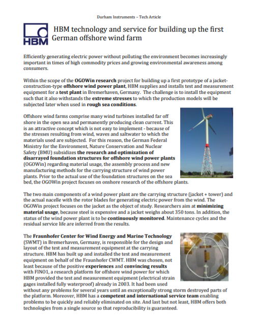 HBM technology in first German offshore wind farm