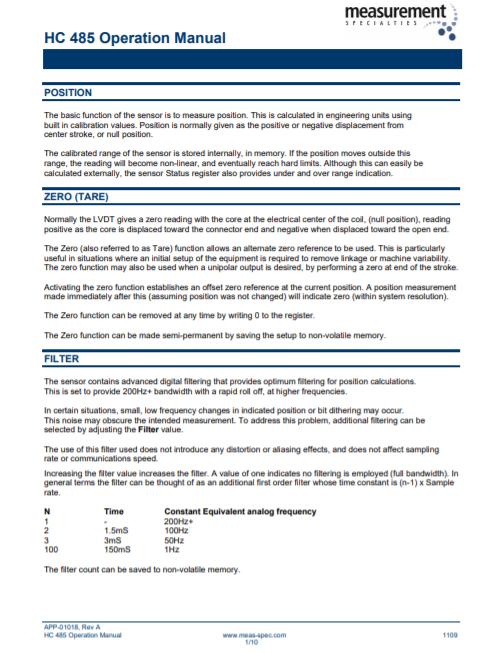 HC-485 Operation Manual