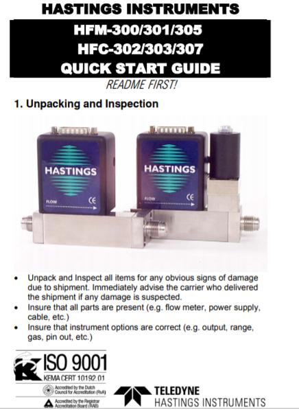 HFM-HFC 300 QuickStart guide