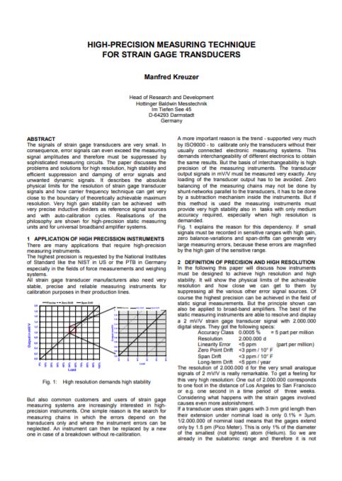 High Precision Measurement Techniques for Strain Gauge Based Transducers