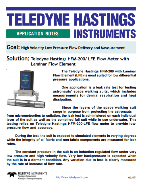 High Velocity Low Pressure Flow Delivery and Measurement