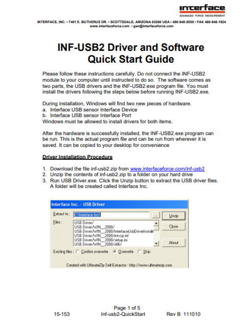 INF-USB2 Driver and Software Quick Start Guide