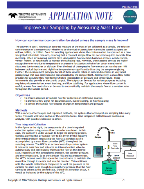 Improve Air Sampling by Measuring Mass Flow