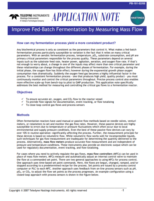 Improve Fed-Batch Fermentation by Measuring Mass Flow