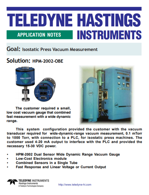 Isostatic Press Vacuum Measurement