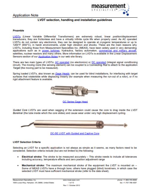 LVDT handling and installation guideline