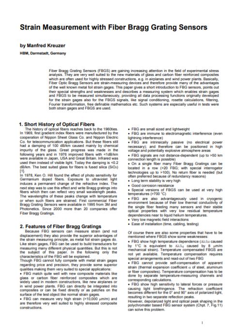 Optical Strain Gauges – Fiber Braggs Grating