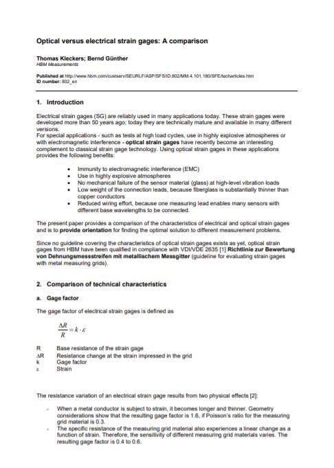 Optical Strain Gauges vs. Electrical Strain Gauges – A Comparison