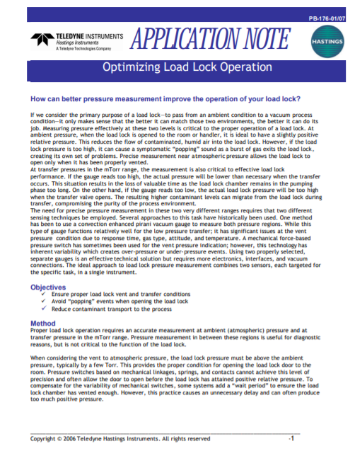 Optimizing Load Lock Operation