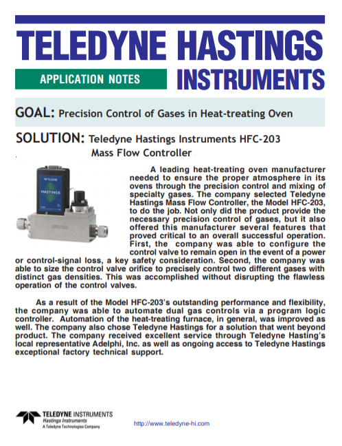Precision Control of Gases in Heat-treating Oven