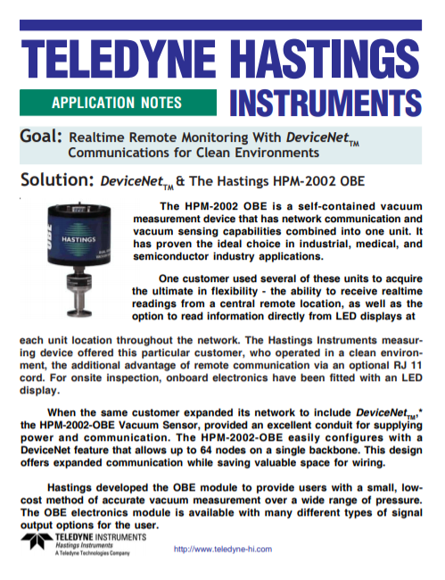 Realtime Remote Monitoring With DeviceNetTM Communications for Clean Environments