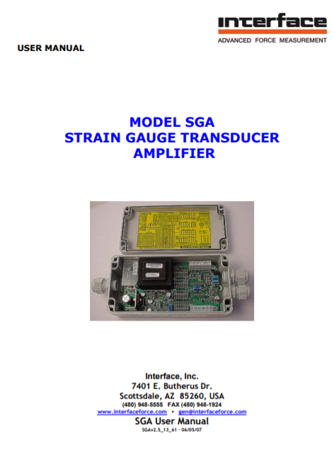 SGA-Load Cell Signal Conditioner-User Manual