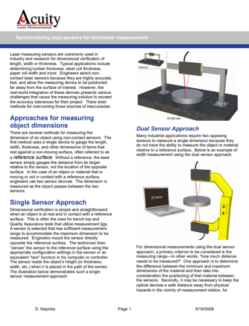 Synchronizing two laser sensors for thickness measurements