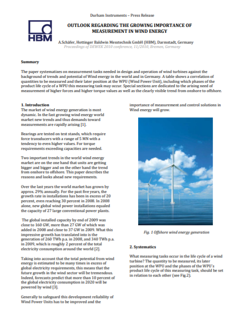 The Growing Importance of Measurement in Wind Energy