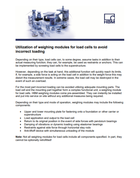Utilization of weighing modules for load cells to avoid incorrect loading
