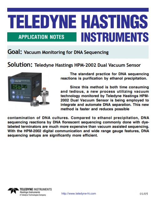 Vacuum Monitoring for DNA Sequencing