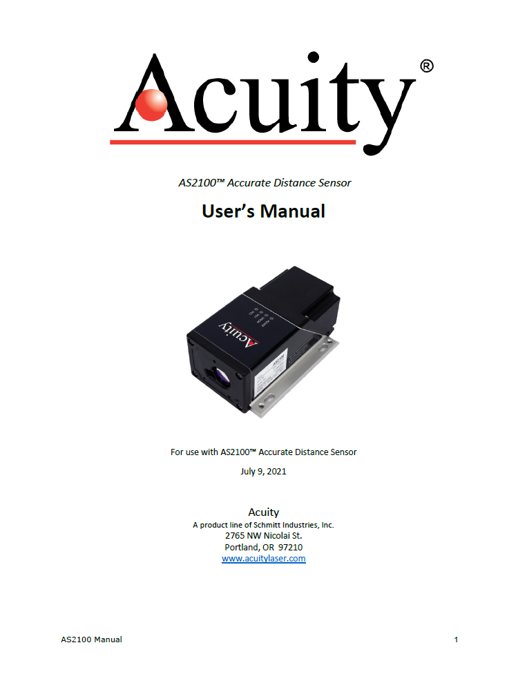 AS2100 Laser Distance Sensor – User Manual